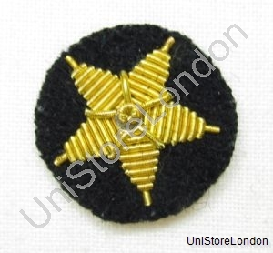 Badge Gold Wire  Star on Black Cloth R1016