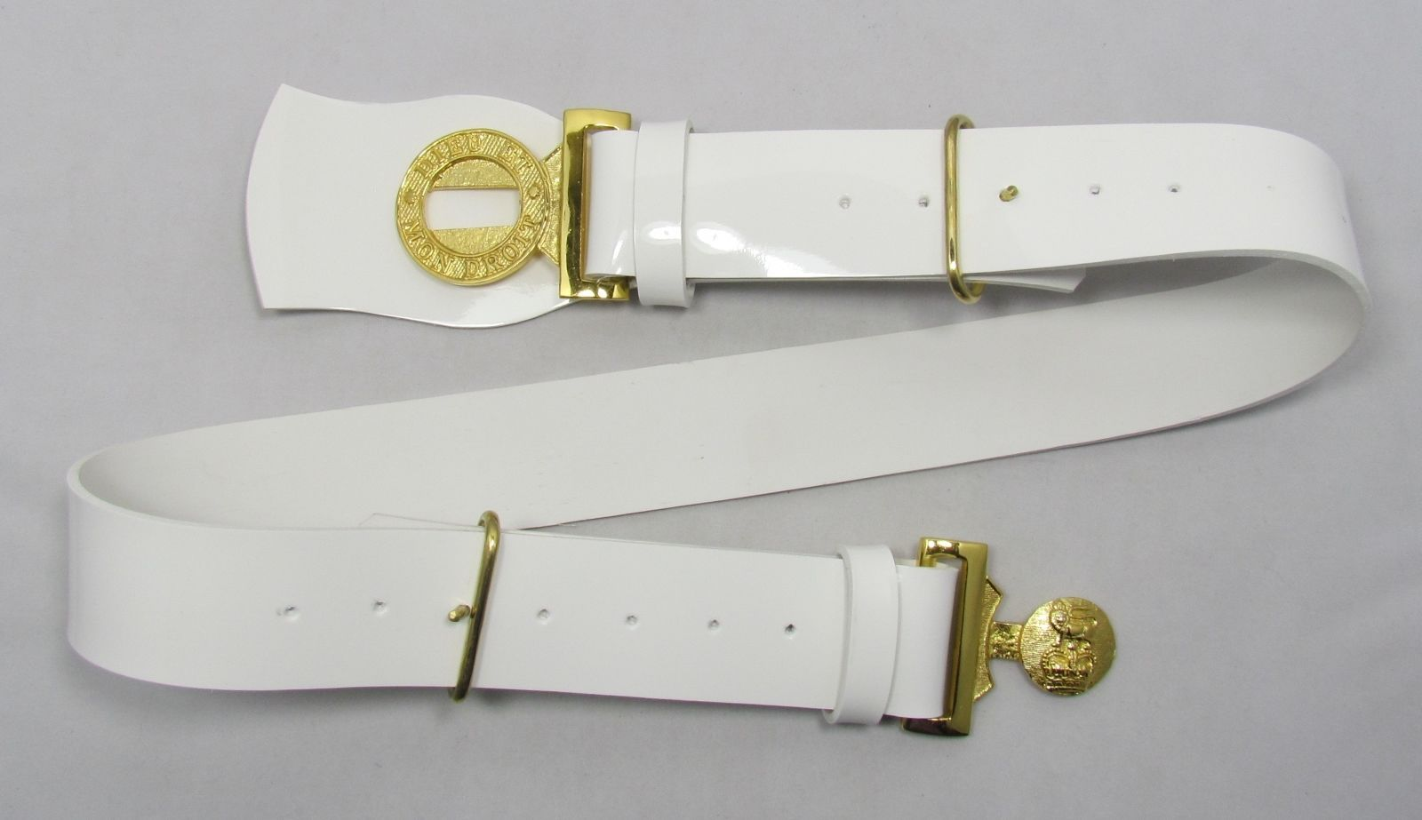 Belt Parade White PVC Plastic Gold Locket Buckle Army Military R1728 88fad575cce