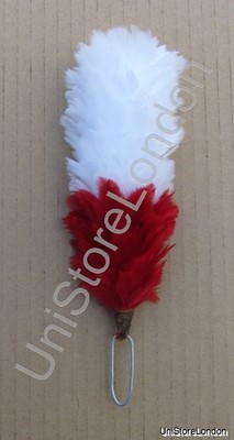 Hackles Plumes White Red 6 Inch R940