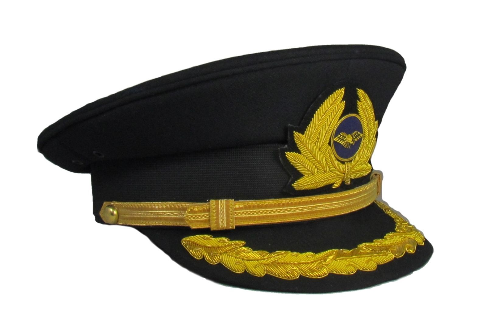 Pilot Cap 1 Row Gold Peak with Generic Cap Badge Black Airline Cap R1836 e825396bbb6