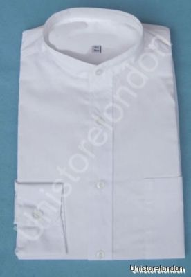 Shirt Grandad collar white with pocket Long Sleeve R504