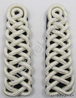 Shoulder Board Guards Shoulder Cord Silver on Blue Sold Pair R1479