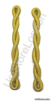 Shoulder Cords Gold Mylar Single Ply Twisted Sold Pair R1486